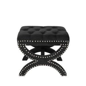 Monte Carlo Black Velvet Ottoman