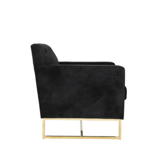 Monte Carlo Black Velvet and Gold Armchair