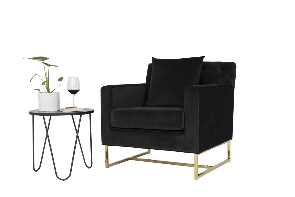 Monte Carlo Black Velvet and Gold Armchair $200 (5)