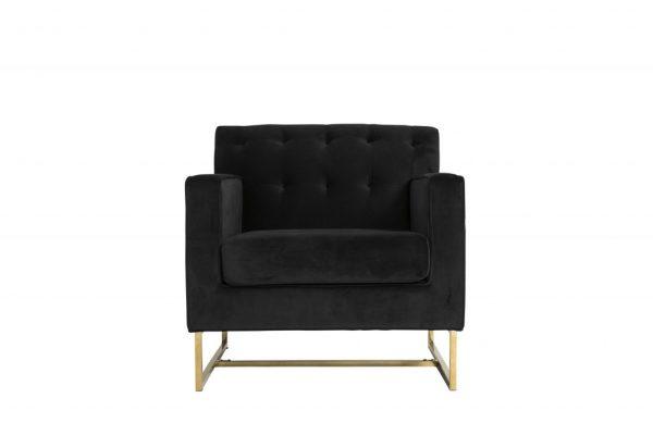 Monte Carlo Black Velvet and Gold Armchair $200