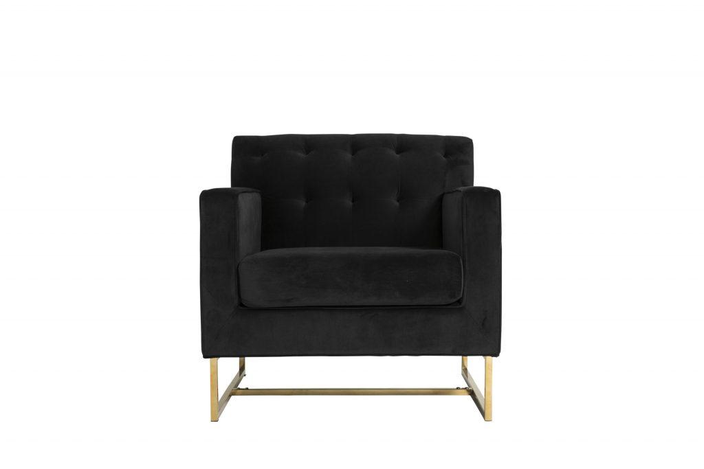 Monte Carlo Black Velvet and Gold Armchair 200