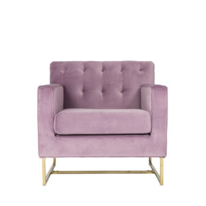 Monte Carlo Pink Lavender and Gold Velvet Armchair