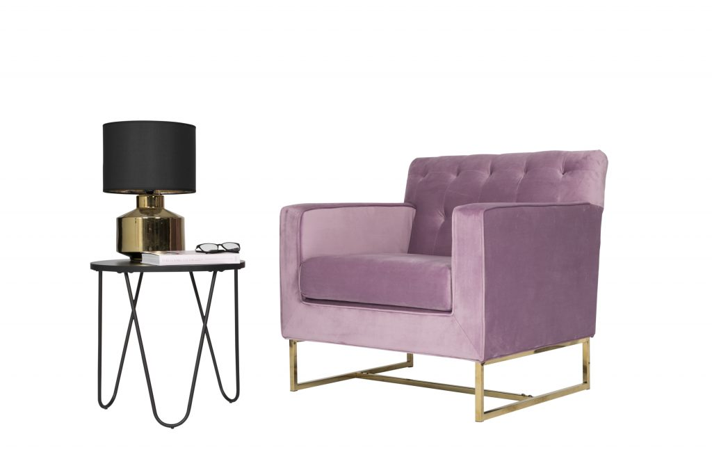 Pink Lavender and Gold Velvet Armchair $200