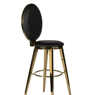 Milano Black + Gold Bar Stool