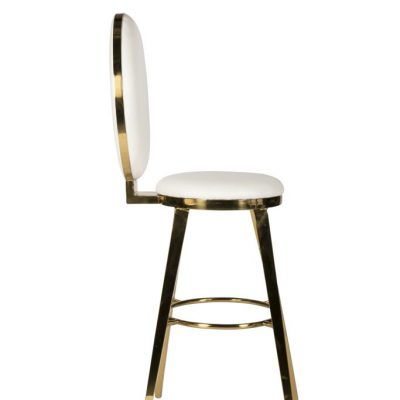 Milano White + Gold Bar Stool