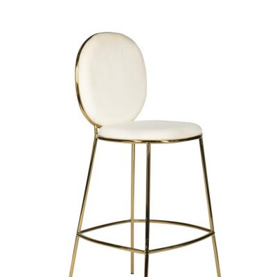 Milano Velvet Bar Stool White