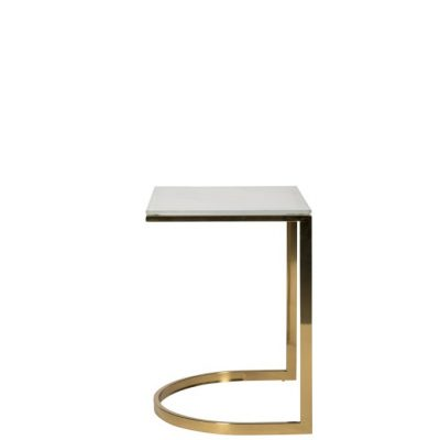 Milano Marble + Gold Side Table