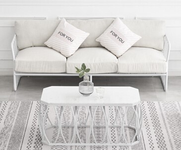 Lounge – 3 Seater White Wire Frame with White Cushions