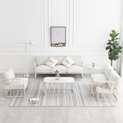 Lounge – 2 Seater White Wire Frame with White Cushions