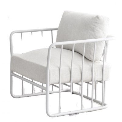 Armchair – White Wire Frame with White Cushions